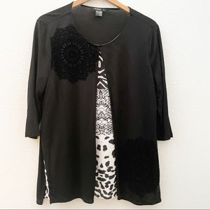 Desigual layered blouse velvet floral animal print